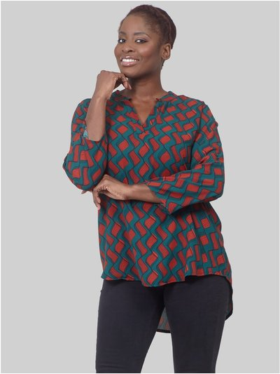 Izabel Curve retro print collarless blouse