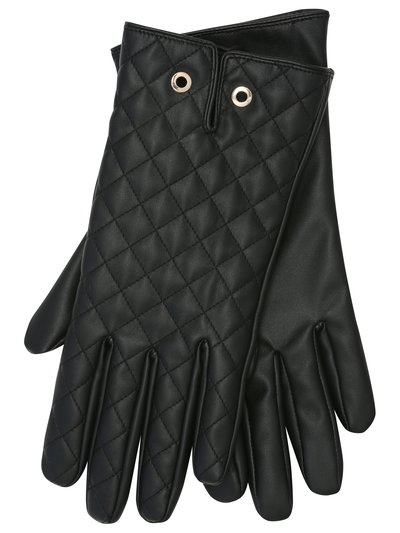 Faux leather quilted gloves