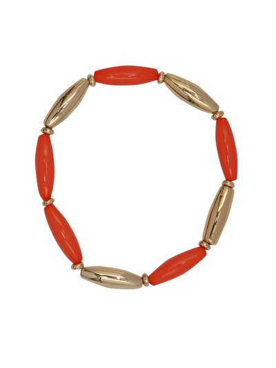 Coral and gold stretch bracelet