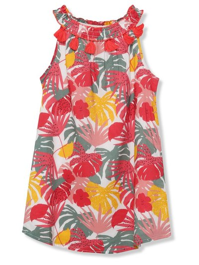 Minoti palm print tassel dress (9mths-8yrs)