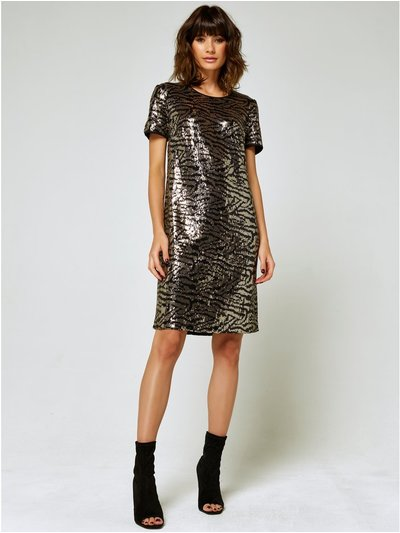 Zebra sequin shift dress