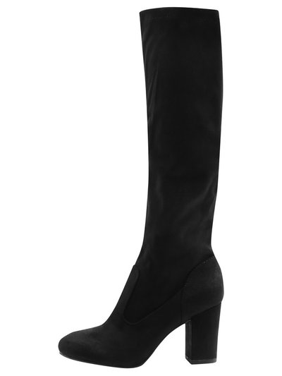 Latte block heel high leg boot