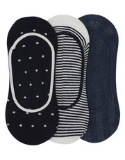 Stripe and spot footlet socks pack of three pairs