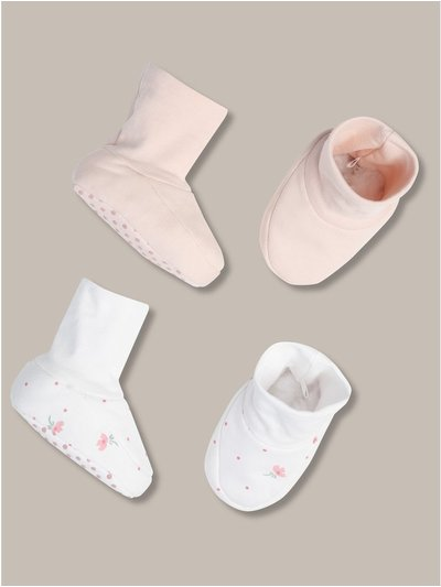 Floral print booties two pack (newborn-12mths)