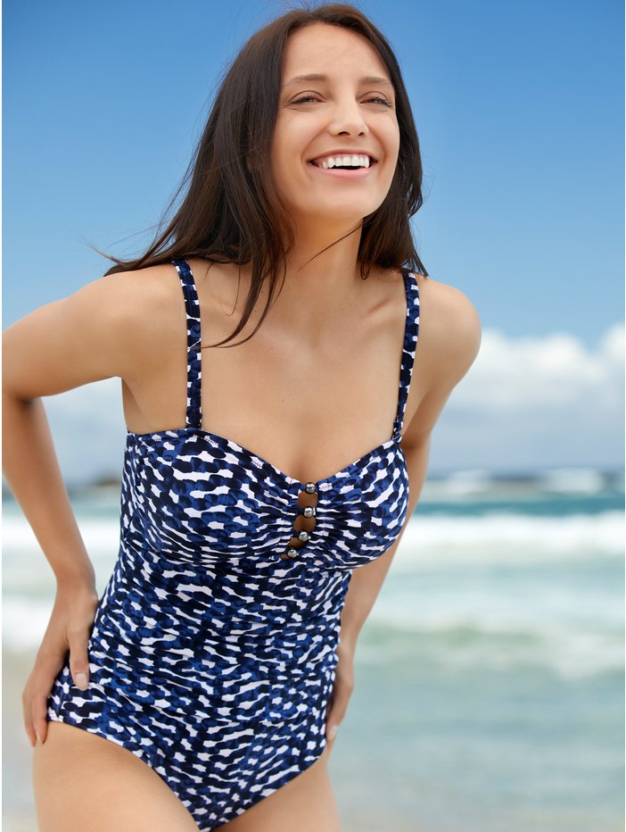 712bfef6b42 Alternate Views. ‹ › Squiggle print tummy control multiway swimsuit ...
