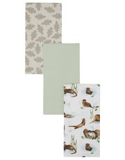 Otter print tea towels three pack