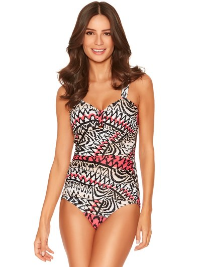 Tribal print tummy control swimsuit