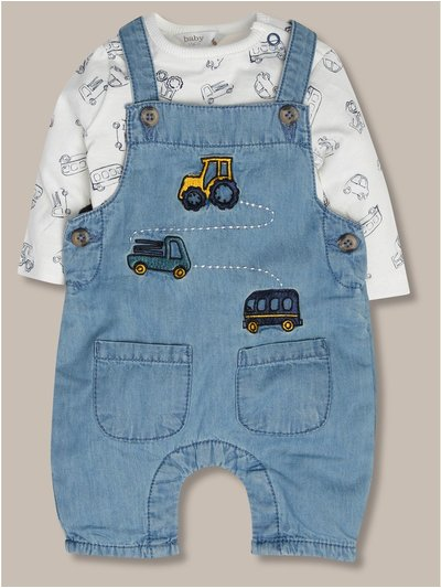 Denim dungaree set (newborn-24mths)