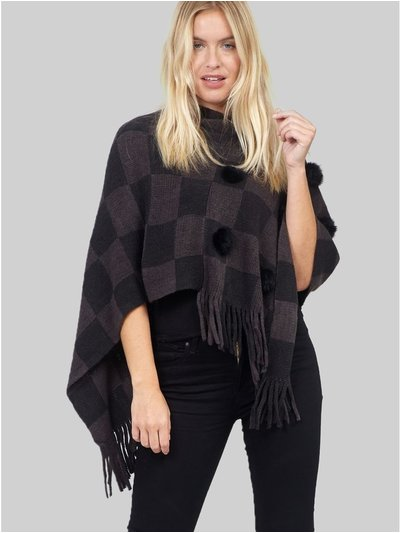 Izabel checked pom pom poncho