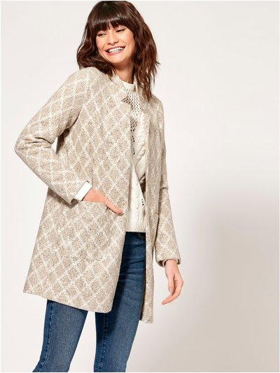 Diamond print open front coat