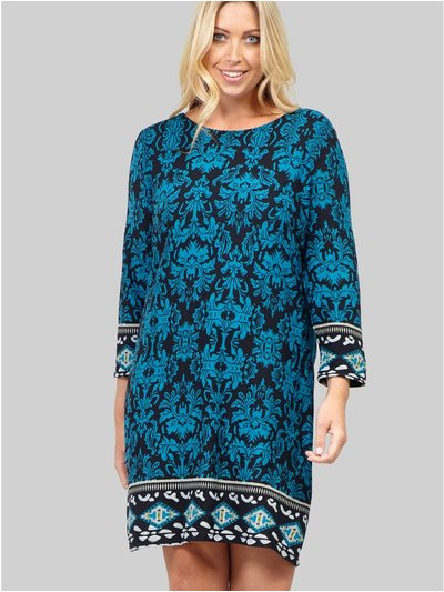 Damask Print Shift Dress