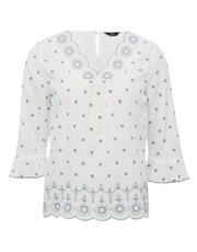 Petite embroidered flute sleeve top