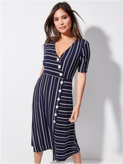 Khost Clothing striped wrap midi dress