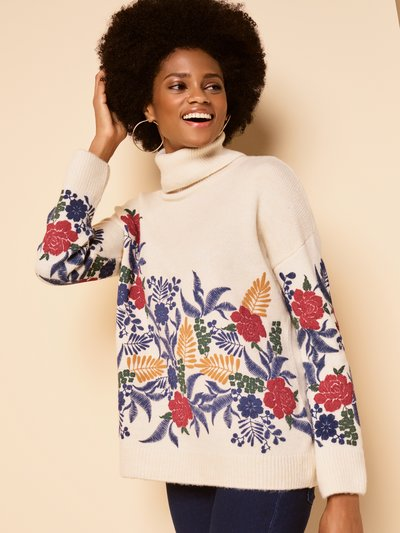 Floral puff print roll neck jumper