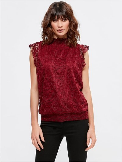 Lace high neck top