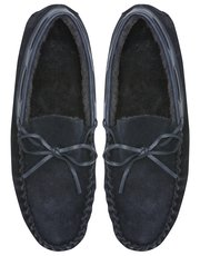 Moccasin tie detail slippers