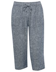 Plus cropped crosshatch linen trousers