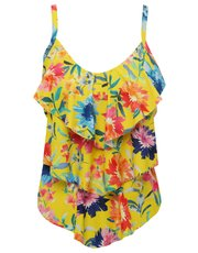 Sunshine floral frill front tankini top