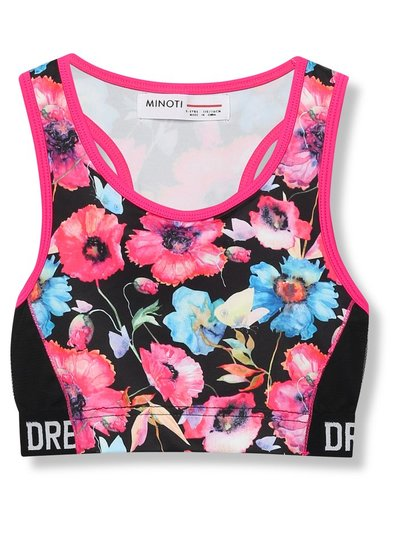 Minoti floral slogan sport crop top (5-12yrs)