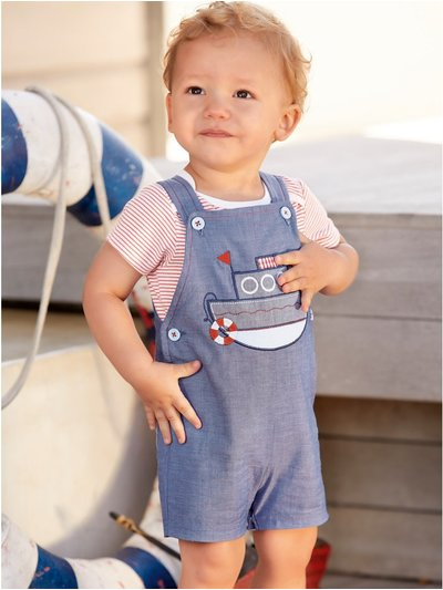 Sailboat top and bibshort set (Newborn - 18 mths)