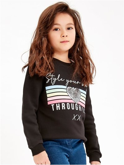 Two way sequin slogan sweatshirt (3-12yrs)