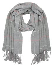 Check fringed blanket scarf