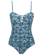 Tile print tummy control multiway swimsuit