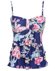 Purple floral frill front multiway tankini top