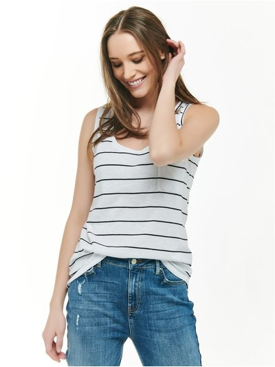 Striped scoop neck vest top