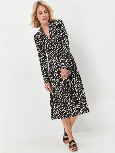 Patterned v neck shirt dress