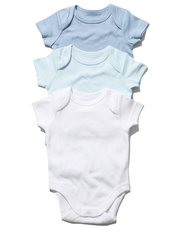 Blue short sleeved bodysuits three pack (Tiny baby - 18 mths)