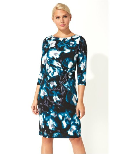 Roman Originals abstract floral twist waist dress