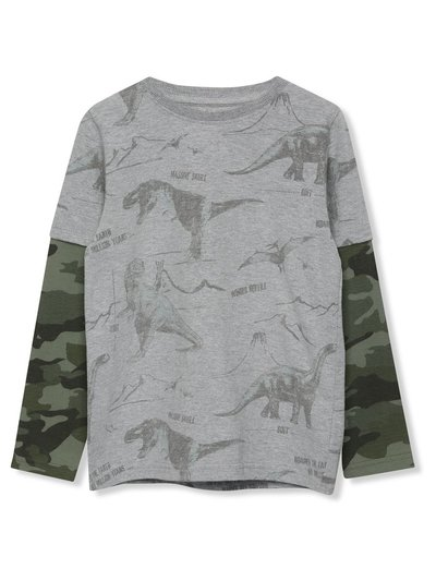 Long sleeve camo dinosaur t-shirt (3-12yrs)