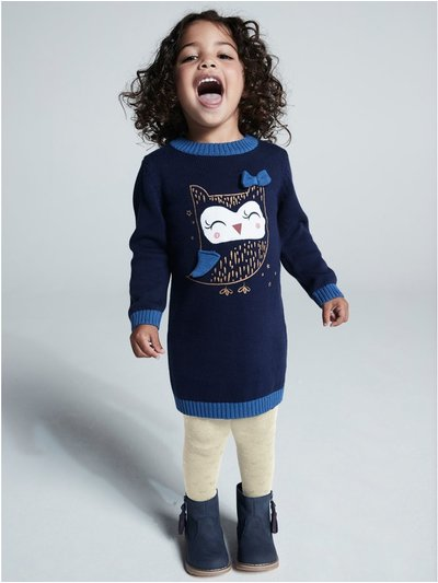 Owl jumper dress and tights set (9mths-5yrs)