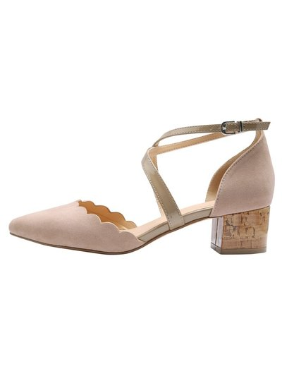 Cheryl cross strap low block heel court