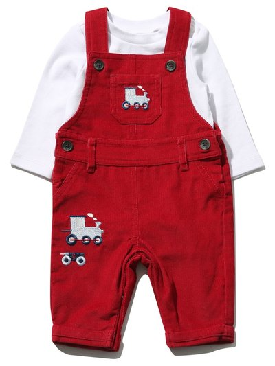 Cord train dungarees and bodysuit set (Newborn - 12 mths)
