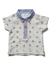 Car print polo shirt