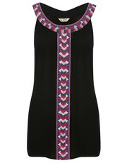 Aztec embroidered trim top