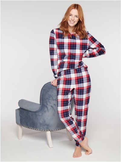 Fleece check pyjama set