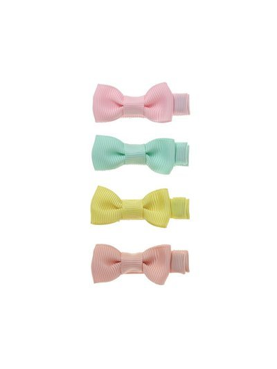 Pack of four pastel bow hair clips
