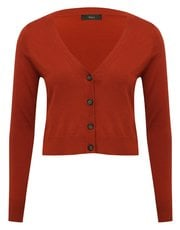 Cropped V neck cardigan