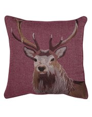 Embroidered stag cushion