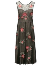 Mesh floral embroidered dress