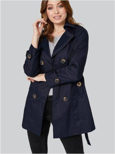 Izabel London Button Front Short Trench Coat