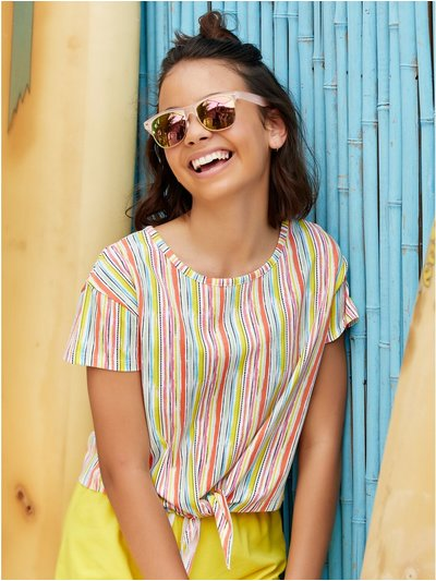 Teen striped cropped t-shirt