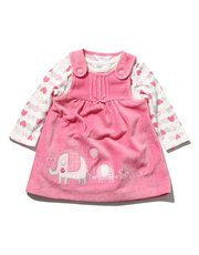 Elephant pinny dress and bodysuit set