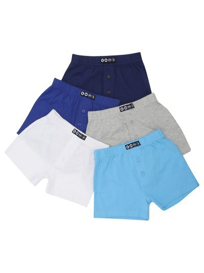 Plain button front boxers five pack (3-12yrs)