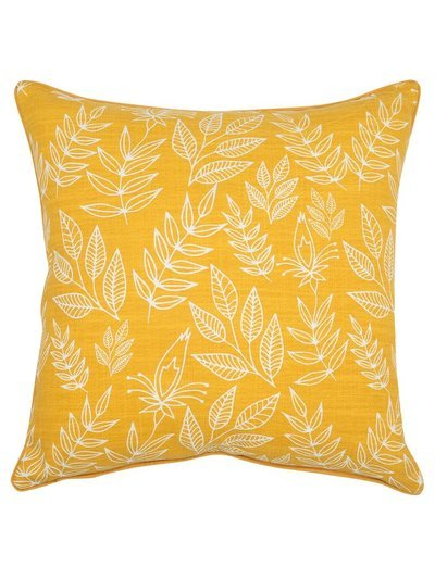 Yellow leaf print cushion