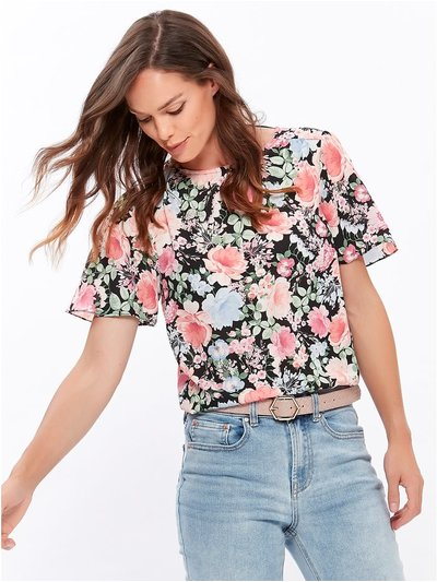 Floral print angel sleeve top