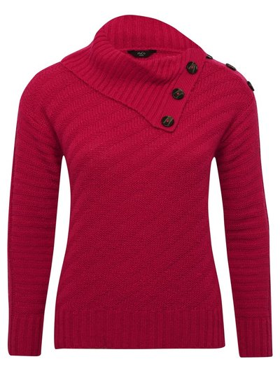 Petite button trim split neck jumper